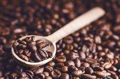 Spoon of coffee beans. Background. Energy. Raw coffee beans. Grained product. Hot drink. Close up. Harvesting. Natural background. Royalty Free Stock Photo