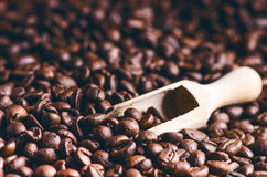 Spoon of coffee beans. Background. Energy. Raw coffee beans. Grained product. Hot drink. Close up. Harvesting. Natural background. Stock Photography