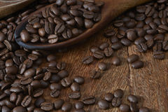 Spoon of Coffee Beans Royalty Free Stock Photo