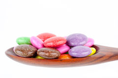 Spoon of colorful candy Royalty Free Stock Photos