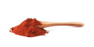 Spoon covered with chili powder isolated Royalty Free Stock Photos