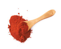 Spoon covered with chili powder isolated Royalty Free Stock Image