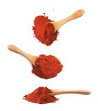Spoon covered with chili powder isolated Stock Photos