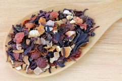 A spoon of dried Fruit tea Stock Images