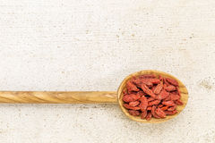 Spoon of dried goji berries Stock Photos