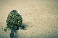 Spoon with dried herb and salt on the stone background. Toned Royalty Free Stock Image