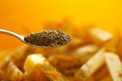 Spoon with dried spices Royalty Free Stock Photos