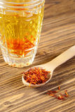 Spoon dry saffron Stock Photos