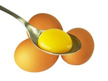 Spoon egg yolk Stock Image