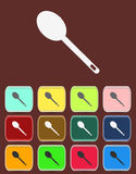 Spoon emblem - Vector icon isolated. With color variations Stock Photo