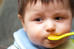 Spoon fed baby Royalty Free Stock Photography