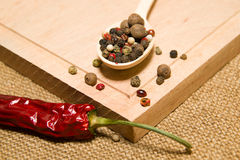 Spoon filled with a mixture of grains of pepper are on a wooden Royalty Free Stock Photography