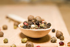 Spoon filled with a mixture of grains of pepper are on a wooden Royalty Free Stock Images