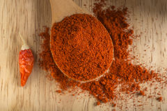 Spoon filled with red hot paprika powder Royalty Free Stock Photo