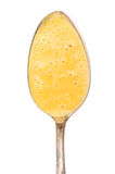 Spoon with foamed up carrot soup Royalty Free Stock Photos