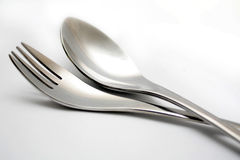 Spoon and fork. Isolated on white Stock Photos