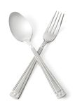 Spoon and fork. Isolated on white. Contains clipping paths stock image