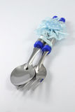 Spoon and fork. On a white background Stock Photos