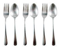 Spoon and fork. Three Spoon and fork on white background Royalty Free Stock Image