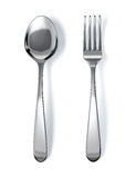 Spoon and fork. On white background Stock Photos
