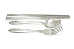 Spoon, fork and chopsticks Stock Image