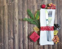 Spoon fork composition christmas gift. Greetingn royalty free stock image