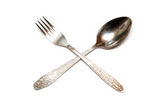 Spoon and fork a crosswise Royalty Free Stock Photography