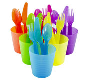 Spoon fork cup and bowl Plastic ware with white isolate backgrou. Spoon fork cup and bowl Plastic ware Royalty Free Stock Image