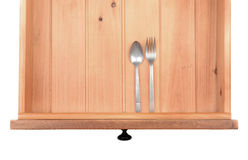 Spoon and Fork in Drawer Royalty Free Stock Photography