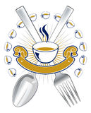 Spoon fork emblem Stock Image