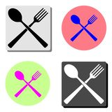 Spoon and fork. flat icon stock illustration