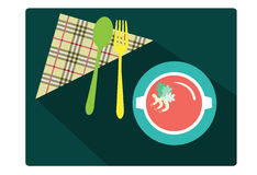 Spoon and fork with Food on green dining table , Vector Illustration stock illustration