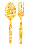 Spoon and Fork with food icon. Illustration of spoon and fork made with food icon Royalty Free Stock Image