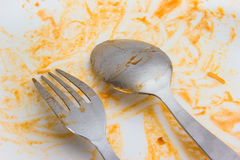 Spoon fork after food Royalty Free Stock Photo