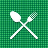 Tablecloth green spoon Royalty Free Stock Photography