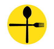 Spoon and Fork Icon Stock Images