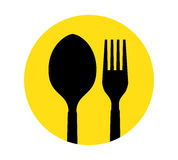 Spoon and Fork Icon Stock Image