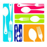 Spoon fork icon  kitchen illustration. Restaurant Royalty Free Stock Images