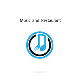 Spoon and fork icon with Musical note vector logo design templat Stock Photo