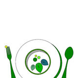 Spoon fork icon vector kitchen illustration Stock Image