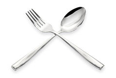 A spoon and fork isolated on a white background Stock Images
