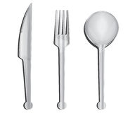 Spoon,  fork and knife. Set on a white background, spoon,  fork and knife Royalty Free Stock Image