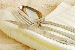 Spoon, fork and knife. Togethor royalty free stock images
