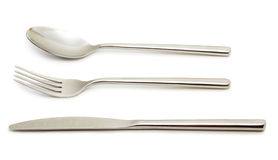 Spoon, fork and knife Stock Images