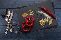 Spoon, fork, knife and abstract cooking Stock Images