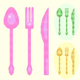 Spoon, fork and knife illustrations Royalty Free Stock Images