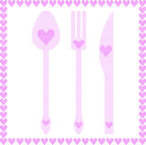 Spoon, fork and knife illustrations with hearts. Frame of hearts. Vector illustration. Abstract pattern Royalty Free Stock Images