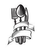 Spoon, fork and knife. Monochrome illustrations of spoon, fork and knife vector illustration