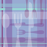 Spoon Fork Knife Purple background. A 70s inspired square scrapbook sized layout with hand drawn spoon, fork, knife in purple hues Royalty Free Stock Photography