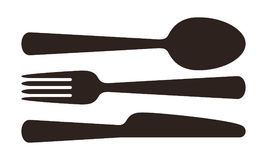 Spoon, fork and knife sign. Isolated on white background